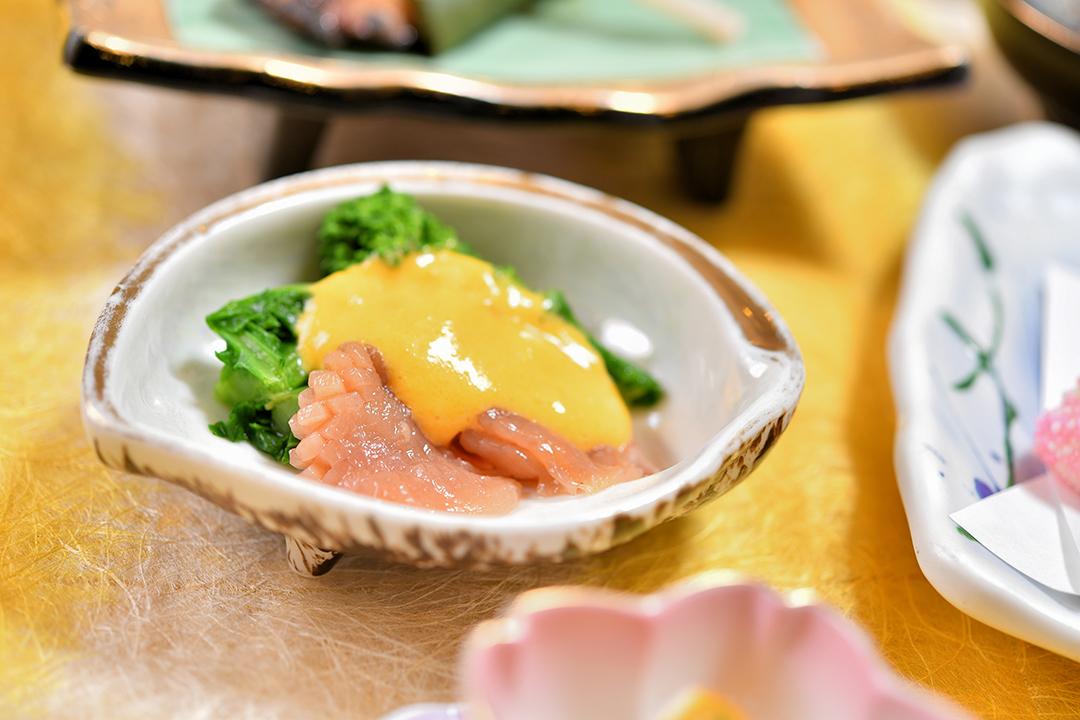 酢物 赤貝と菜の花の黄身酢